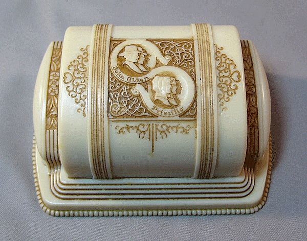 RARE Vintage Art Deco Design Blue Celluloid Jewelry Ring Box by