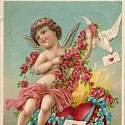 SOLD Valentine Post Card with Cupid, Doves, Bow and Arrow