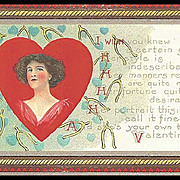 Valentine Post Card with Lovely Lady