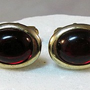 Anson Cuff Links with Red Glass Stones