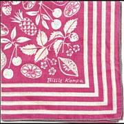 Hot Pink Hankie with Fruit by Billie Kompa