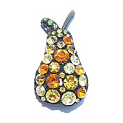 Japanned Multi-Colored Rhinestone Pear Pin