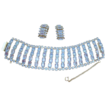 Wide Vintage Light Blue Rhinestone Bracelet/Earrings Set