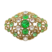 SALE Vintage Green & Crystal Rhinestone Pin/Brooch