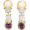 Vintage SAL Swarovski Crystal Rhinestone Faux Pearl Drop Earrings