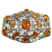 Large Vintage Ornate Silver Open Back Topaz Rhinestone Pin