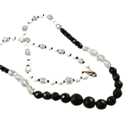 SALE Long Black White Aurora Borealis Faceted Glass Bead Vintage Necklace