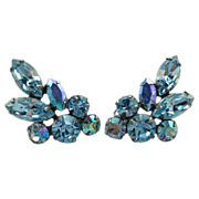 SALE Vintage Blue Aurora Borealis Rhinestone Clip Earrings