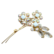 SALE Vintage White Rhinestone Flowers Pin w/Clear Aurora Borealis