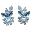 Big Light Blue Rhinestone Climber Earrings