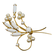 White Rhinestone Flower Brooch
