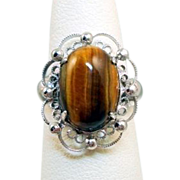 Vintage Sorrento Sterling Filigree Tiger Eye Ring