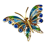 SALE Vintage Plique-a-Jour Butterfly Brooch