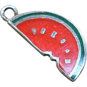 SALE Vintage Sterling Enamel Watermelon Charm