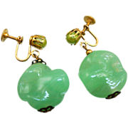 Vintage Coro Jadeite Peking Glass Earrings