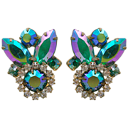 Peacock Colors Aurora Borealis Rhinestone Earrings