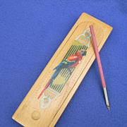 Vintage Wooden Pencil /  Pen Case from Holland w/ Parrot