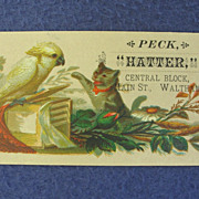 Hatter Trade Card w/ Cockatoo Parrot and Kitten