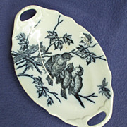 Victorian Flow Blue Aesthetic Handled Tray w/ Birds