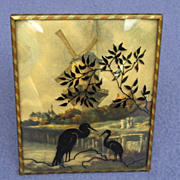 1930's - 40's Windmill and Herons Silhouette