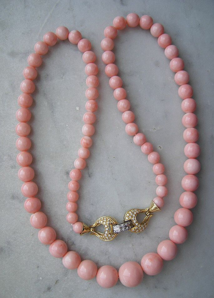The Most Precious, Exceptional Rarest REAL Angel Skin Coral Necklace circa 1950