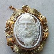Amazing Front Face Shell Cameo Brooch of Zeus, Victorian ca 1850