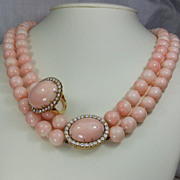 Exceptional  Pink Coral and Diamonds Set - Necklace and Ring