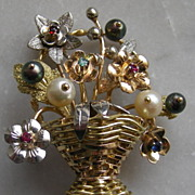 SALE Magnificent 18k Basket of Flowers Giardinetto Brooch with Gemstones circa 1950