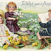 """To Wish You a Happy Easter"" - Children - Baby Chicks - Postcard"