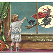 A Happy Hallowe'en - Witch - Child - Black Cat