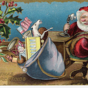 &quot;Christmas Greetings&quot; - Santa Claus - American Flag