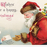 &quot;Best Wishes for a Happy Christmas&quot; - Santa Claus - Christmas - Artist Signed