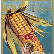 """Thanksgiving Greetings""  - Cherub - Corn on the Cob"