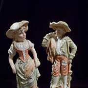 Vintage Handpainted Bisque Statues, Boy, Girl, 19th Century Germany