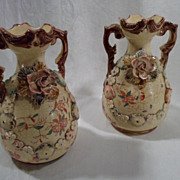 2 19th Century, Victorian Porcelain, Ceramic, Art Vases, Pair, Antique