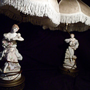 (2)Set of Figurine Lamps, Silk, Porcelain