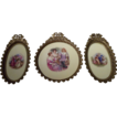 Set of Three Porcelain Plaques, Victorian Antique, Hand-Painted, Ormolu Frames, Miniatures