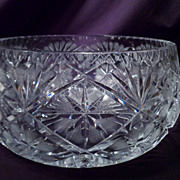 Cut Crystal Crosshatch Salad Bowl, Superb!