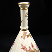 Antique Royal Worcester Vase, Gathered-Fabric neck, Floral, Porcelain, 1887