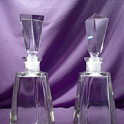 Pair Of Crystal Geometric Decanters!