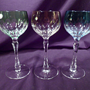Set of Three La Maison French Crystal Hoch Wine Glasses, Amber, Blue, Green Cut to Clear