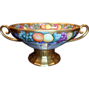 RARE Antique Fraureuth Centerpiece Bowl, German, R. Paine Studio, Gold, Fruit