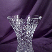 Large Cut Crystal Corset Vase, Diamond, Fan, Tall
