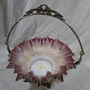 Antique Brides Basket, Victorian, Glass, Silver Plate, Bridal, Violets, c1880