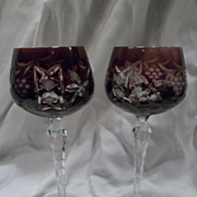 Pair of Ajka Wine Glasses, Amethyst Cut Crystal, Marsala Pattern, Waterford