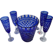 Champagne Set, Ajka Rare Vintage, Cobalt Crystal, Cut to Clear, 5 Items, Flutes, Bucket
