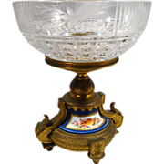 Superb 19th Century Brass, Porcelain and Cut Crystal Compote, Antique, French