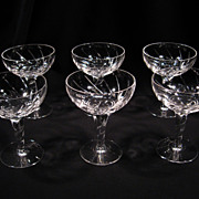 Set of (6) Stuart Champagne/Tall Sherbet Glasses, Lyric Pattern, Vintage
