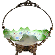 Spectacular 19th Century Brides Basket, Bridal Basket, Antique Glass, Silverplate, Enamel