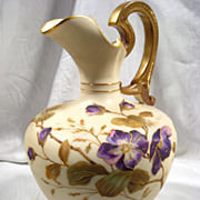 Antique Carlsbad/Karlsbad Porcelain Ewer, Floral, Gilt, Pitcher, Bohemian